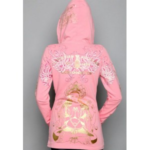 Women's Christian Audigier Monotone Crest And Crown Velour Hoody Pink