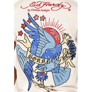 Ed Hardy Polo Shirt Born Free Stoned Bandana Applique Polo