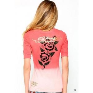 Women's Ed Hardy Two Roses Dip Dye V-Neck Tee