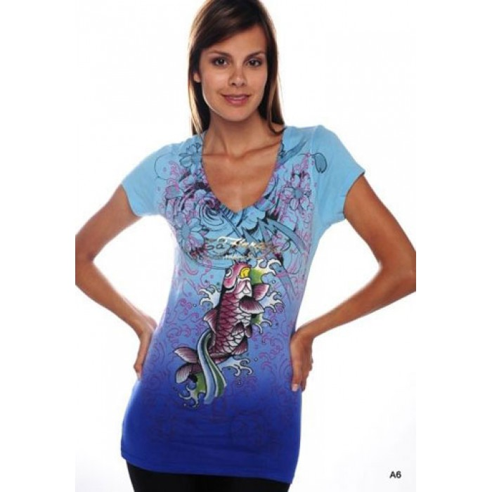 Women's Ed Hardy Pink Koi Dip Dye V-Neck Tee