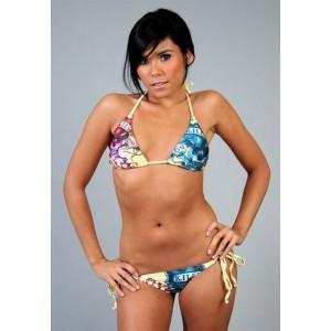 Women's Ed Hardy Two-piece Bikini Love Kills Slowly in Yellow