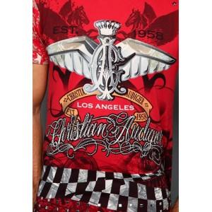 Christian Audigier Pegasus Rhinestone Tee Red