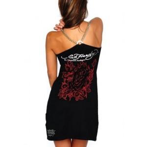 Women's Ed Hardy Beautiful Skull Tank Top in Black