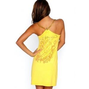 Women's Ed Hardy Beautiful Skull Tank Top in Yellow