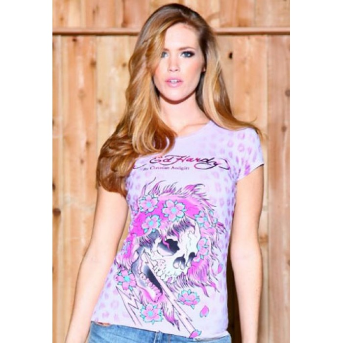 Women's Ed Hardy Beautiful Ghost Specialty Tee Pink