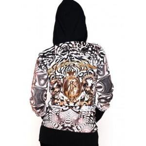 Women's Christian Audigier Tiger Stare Specialty Tunic Hoody Black