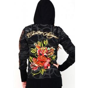 Women's Christian Audigier Lock Your Heart Specialty Tunic Hoody Black