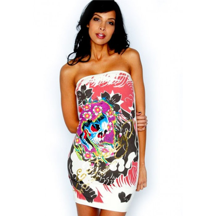 Women's Ed Hardy Ghost All Over Print Strapless Dress in White