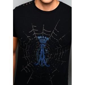 Christian Audigier CA Crest Web Platinum Lux Tee Black