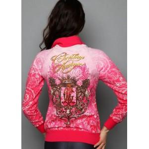 Women's Christian Audigier Royal Romance Specialty Dip Dye Track Jacket Red
