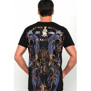 Christian Audigier Roses And Flames Platinum Tee in Black