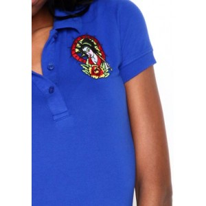 Women's Ed Hardy Geisha Basic Embroidered Polo