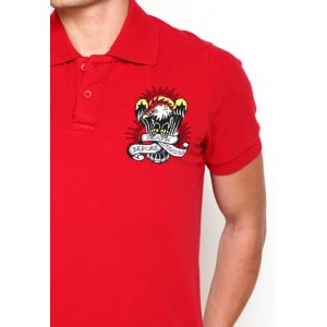 Ed Hardy Polo Shirt Death Before Dishonor Basic Embroidered Polo