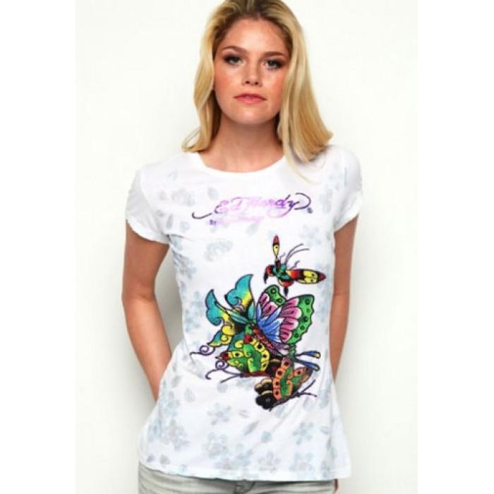 Women's Ed Hardy Butterflies Metallic Ink Platinum Tee