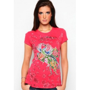 Women's Ed Hardy Firebird And Roses Metallic Ink Platinum Tee