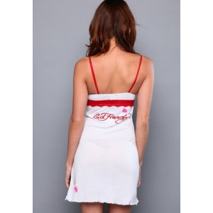 Women's Ed Hardy Dotted Halter Dress in White