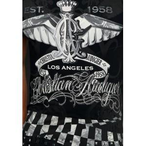 Christian Audigier Pegasus Rhinestone Tee Black