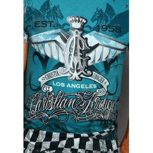 Christian Audigier Pegasus Rhinestone Tee Blue