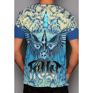 Christian Audigier L.A. Rides Specialty Patch Tee Blue