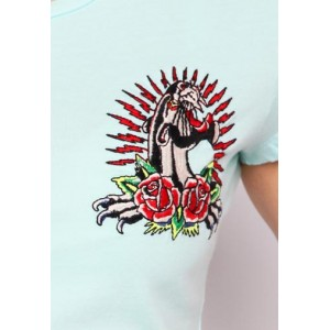 Women's Ed Hardy Panther and Roses Core Basic Embroidered Tee
