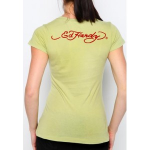 Women's Ed Hardy Peacock Flowers Core Basic Embroidered Tee