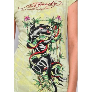 Women's Ed Hardy Panther And Snake Fight Specialty Tee
