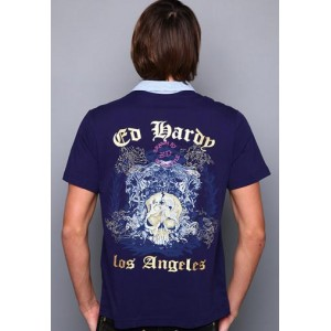 Ed Hardy Polo Shirt L.A. Crown And Skull Embroidered Polo