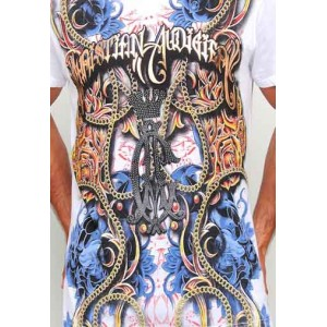 Christian Audigier Roses And Flames Platinum Tee in White