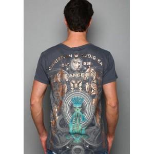Christian Audigier Serpent Seal Platinum V-Neck Tee Charcoal