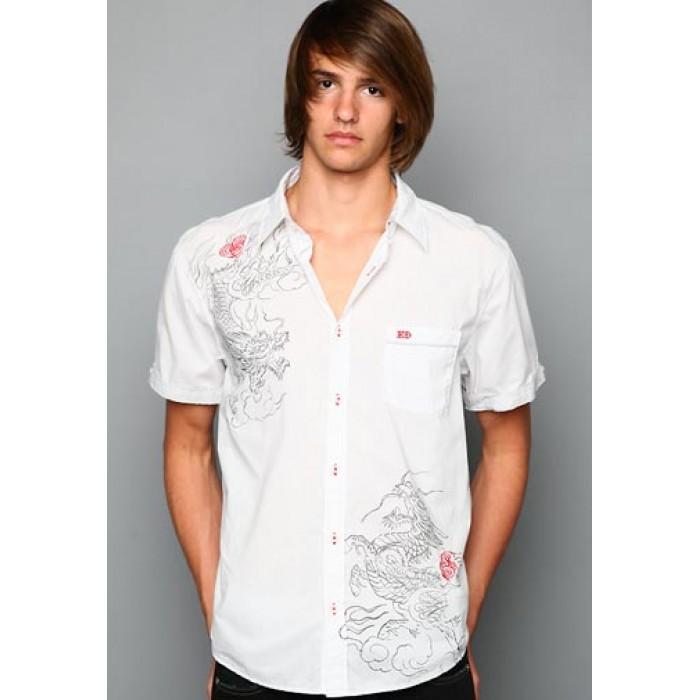 Ed Hardy Polo Shirt Chinese Dragon Foiled Embroidered Shirt