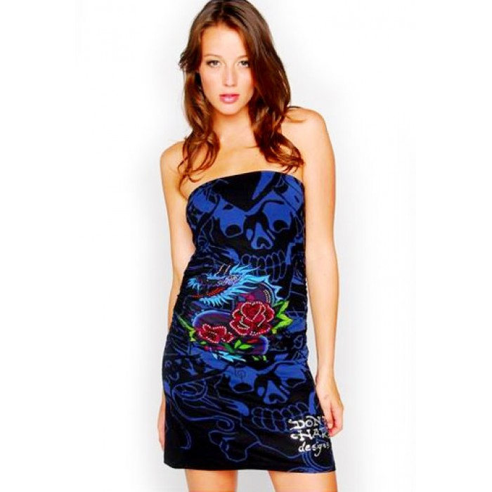 Women's Ed Hardy Dragon Rose All Over Print Foiled Dress