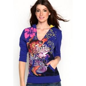 Women's Ed Hardy Koi Specialty V-Neck Pullover Hoody