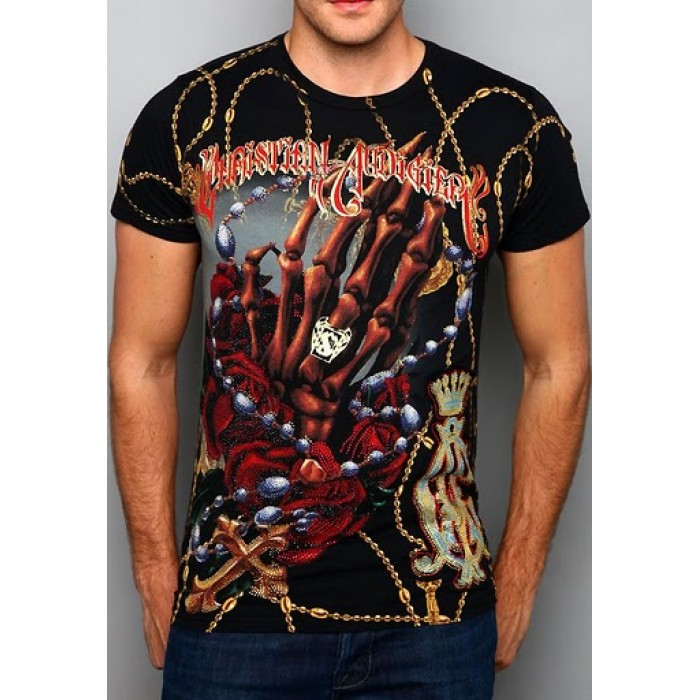 Christian Audigier Garage Parts Cycles Enzyme Wash Tee Black