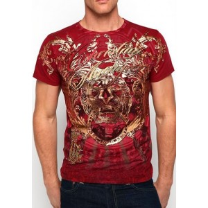 Christian Audigier Bird Of Prey Enzyme Washed Tee Red