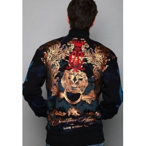 Christian Audigier Lion Head Foil Print Track Jacket Black