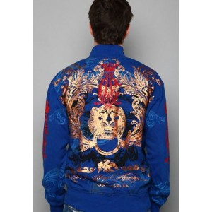 Christian Audigier Lion Head Foil Print Track Jacket Blue