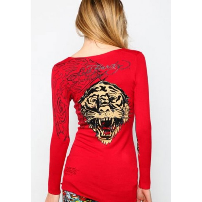 Women's Ed Hardy Red Rose Specialty Scoop Neck Tee Red