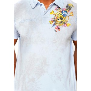 Ed Hardy Polo Shirt Death Before Dishonor Enzyme Washed Polo