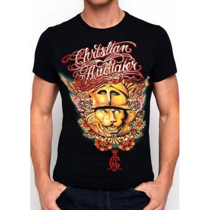 Christian Audigier CA Logo Core V-Neck Tee Black