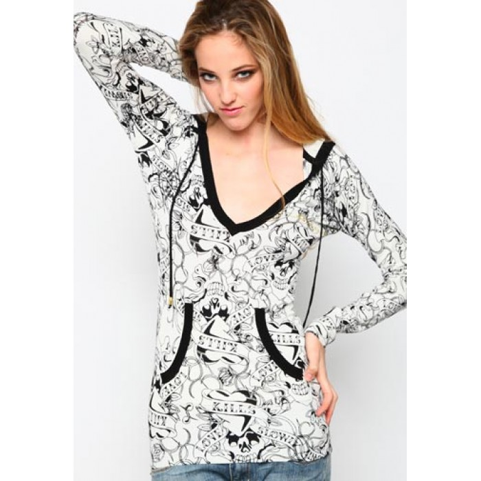 Women's Ed Hardy LKS Tiger Knitted Pullover Hoody