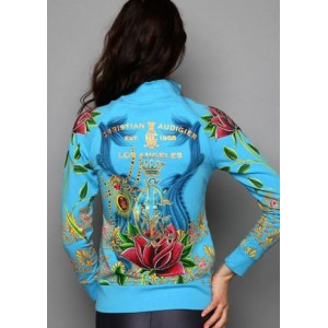 Women's Christian Audigier Jeweled Spider Platinum Track Jacket Blue