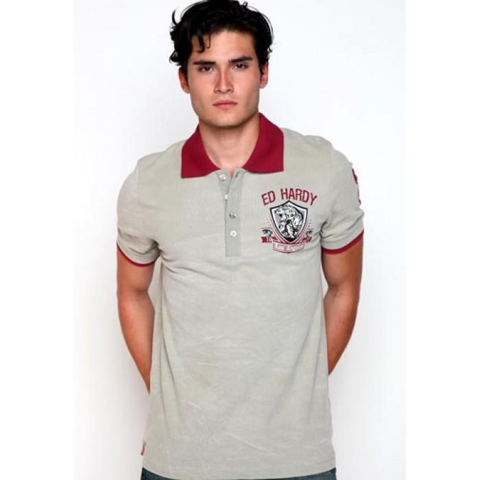 Ed Hardy Polo Shirt LA Tiger Crest Enzyme Wash Polo