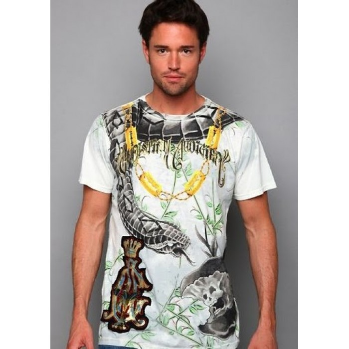Christian Audigier Roses And Flames Platinum Tee White