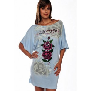Women's Ed Hardy Two Roses Platinum Butterfly Sleeve Tunic