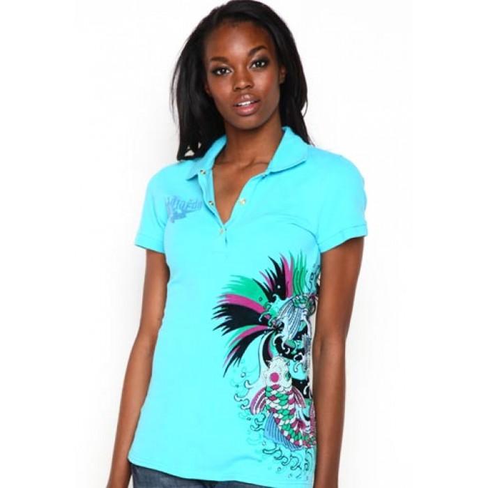 Women's Ed Hardy Koi Rhinestone Embroidered Polo Buy