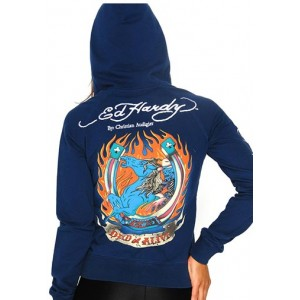 Women's Ed Hardy Dead or Alive Basic Applique Hoodie