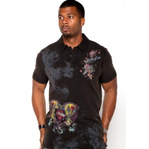 Ed Hardy Polo Shirt Love Kills Slowly Discharge Wash Polo