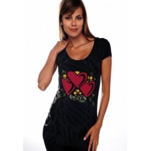 Women's Ed Hardy Three Hearts Specialty Scoop Neck Tunic