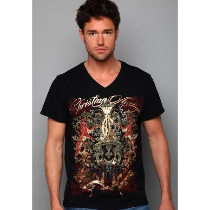 Christian Audigier Riding High Enzyme Washed Tee Black